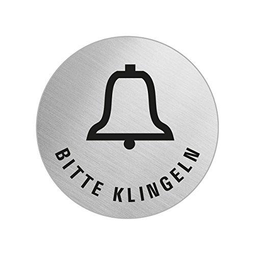 Ofform Klingel-Schild | Türschild Bitte-klingeln | Ø 60 mm | selbstklebend | Original aus der Ofform Edelstahlschilder-Kollektion | Nr.7168