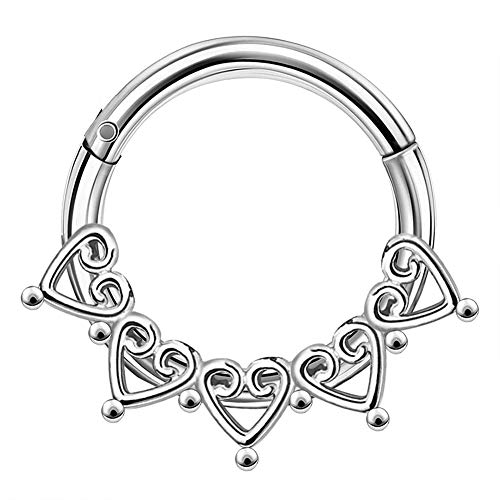 OUFER 16G 8mm Daith Piercing Septum Rings Five Heart India Septum Clicker Stainless SteelDaith Hoop ClusterHinged Segment Helix Cartilage Ear Piercings Jewellery