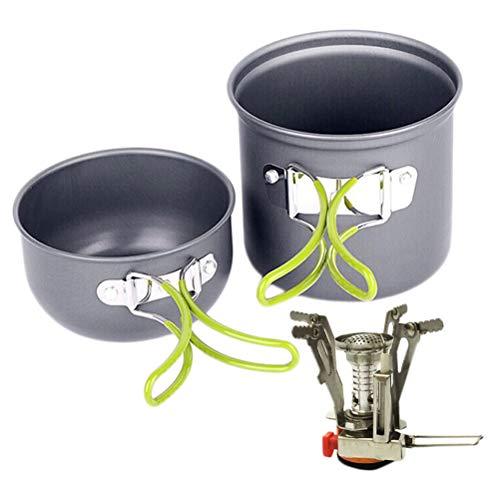 Camping Acessorios, 1 conjunto de tachos de acampamento ao ar livre para 1 a 2 pessoas utensílios de cozinha Panela para churrasco Talheres de liga de alumínio de cores variadas