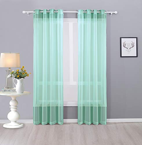 """Interior Trends Ariana 2 Piece Sheer Voile Fully Stitched Window Panel Curtain Drape Set with Grommets (120"""" Length, Mint)"""