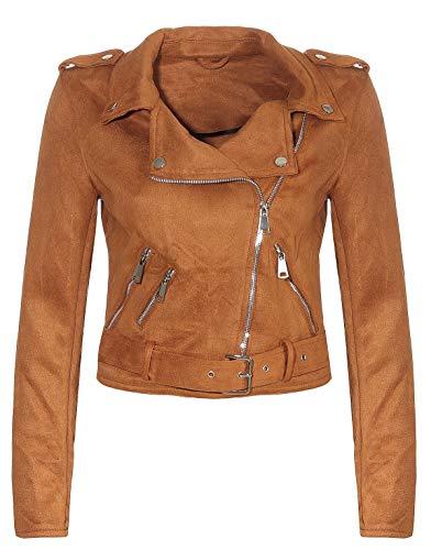 Malito Damen Jacke | Velours Jacke | Biker Jacke mit Gürtel | Kunstleder Jacke | Faux Leather 5199 (Camel, XL)
