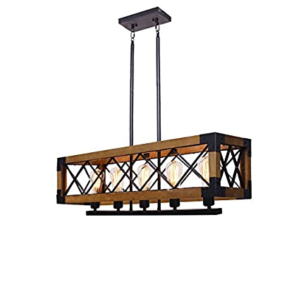 Wood Chandelier Lighting, Metal Rectangle Chandelier Farmhouse Kitchen Island Lighting Fixture 5 Lights Edison E26