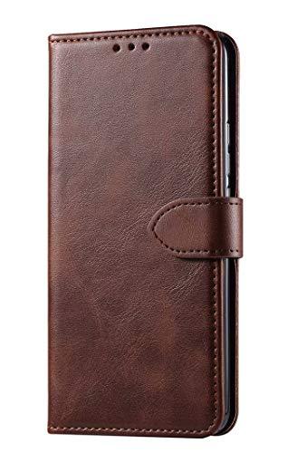 GIOPUEY Leder Hülle für Realme C21, All Inclusive Flip Leder Hülle Cover, 3 Kartenfach Halterungs Funktion Handyhülle für Realme C21 - Brown