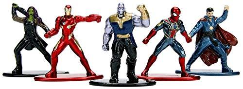 Jazwares Nano METALFIGS-Marvel Avengers Infinity War-Pack de 5 Figuras de 4 cm (Thanos, Man, Iron...