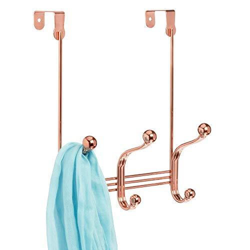 iDesign York Metal Over the Door Organizer, 3-Hook Rack for Coats, Hats, Robes, Towels, Bedroom, Closet, and Bathroom, 4' x 8.3' x 11' - Rose Gold