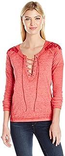 Buffalo David Bitton Womens KT7576 Hen-pecked Long_Sleeve T-Shirt
