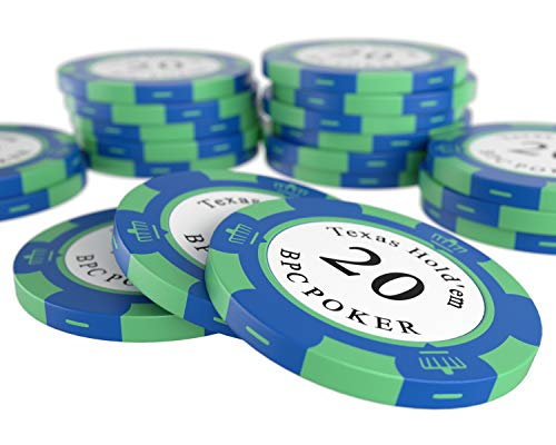 Bullets Playing Cards - 20 Clay Pokerchips Carmela für Pokerset - Wert 20 - 14g - 4cm Durchmesser - Farbe Blau - Grün
