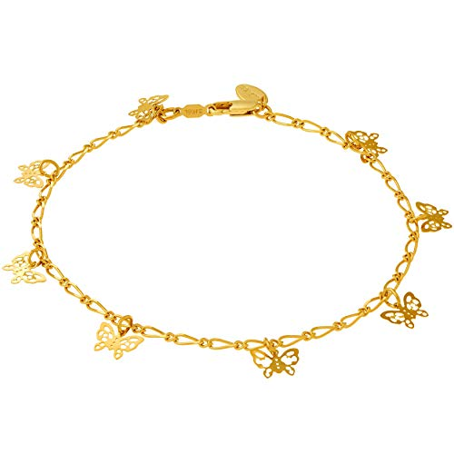 Lifetime Jewelry 24k Gold Plated Butterfly Ankle Bracelet to...