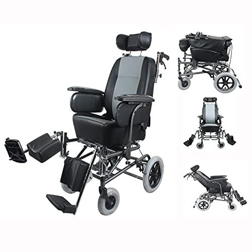 LHQ-HQ Silla De Ruedas con Parálisis Cerebral Completa, Ajustable, para Discapacitados, con Alto Contenido De Carbono, para Personas con Accidente Cerebrovascular, Paraplejia, Asiento De Cuero