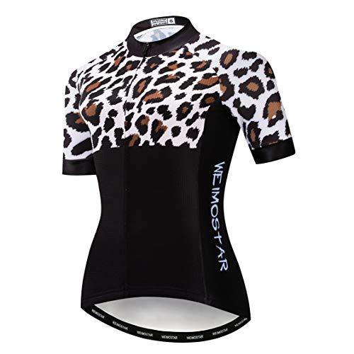 Weimostar MTB Trikot Radtrikot für Damen Mountainbike Jersey Shirts Kurzarm Rennrad Tops Pro Team RacingTops für Damen Famale Sommerbekleidung Atmungsaktiv und schnell trocknend Größe L
