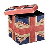 Relaxdays UK Puff Pieghevole, Finta Pelle, Multicolore, 38.0x38.0x38.0 cm