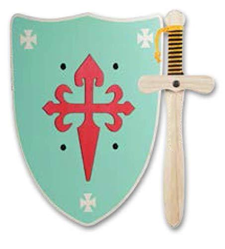 Espada mas Escudo de Caballero de Madera artesanales - Complemento para Juegos y Disfraces. Disponible en Distintos Colores. (Escudo Verde)