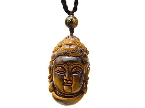 COT08Agathe Creation –Collar con ojo de tigre en forma de Buda (mantra Tara)