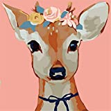 Arte Vita DIY Acrylic Painting, Paint by Number Kits for Kids Beginner - Flower Roe Deer 8' x 8'