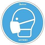 Tarifold Es 7999827- Pegatinas Señalización Pictograma -Uso de Mascarilla Obligatorio- Ø 250 mm, Azul | Apto para superficies lisas- Adhesivo Alta Resistencia (Lote 2 u.)