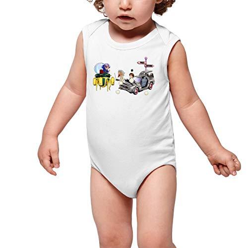 OKIWOKI Grappige Draak Bal Z -Terug naar De Toekomstige Witte Mouwloze Baby Bodysuit - Trunks, Marty Macfly en Doc (Dragon Ball Z -Terug naar De Toekomstige Parodie) (Ref:683)