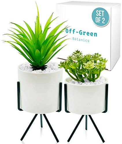 Modern Decor, Realistic Fake Potted Plants–2 Tabletop Plants For Home, Office,...