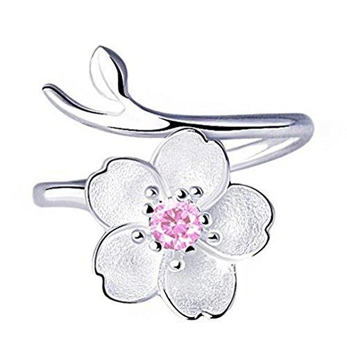 Shuda Damen-Schmuckset Kirschblüten Kristall-Ringe für Jahrestag Hochzeit Verlobungsring Brautschmuck Set, Kupfer, Rose, 1.7cm