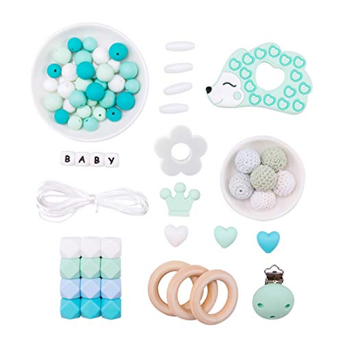 Promise Babe Cuentas de Silicona Kit Hecho a Mano Bricolaje Mamá Joyería Conjunto de Collar Colgante Bebé Traqueteo Juguetes Sensoriales Anillos de Madera