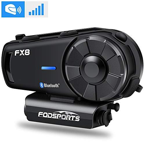 FODSPORTS Intercomunicador Casco Moto, Manos Libres Moto Bluetooth Intercom Headset, Sistema de comunicación por intercomunicador de Motocicleta con FM, 2KM Motocicleta Interphone para 8 Motoristas