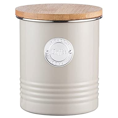 Typhoon Living Putty Coffee Canister, Airtight Bamboo Lid, Durable Carbon Steel Design with a Hard-wearing Matte Coating, 33-3/4-Fluid Ounces