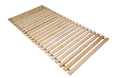 Naturamio Massivholz-Rollrost XXL – 90 x 200cm – Hochwertiger Rolllattenrost aus 23 massiven Leisten aus Hartholz – 250 KG Flächenlast – unbehandelt und FSC Zertifiziert