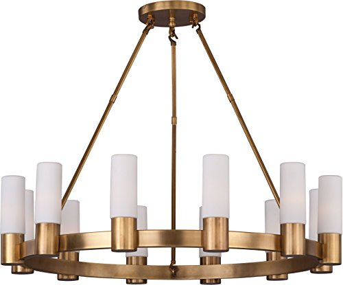 Maxim 22419SWNAB Contessa Modern Opal Satin White Glass Cylinder Round Chandelier, 12-Light 480 Watts, 28