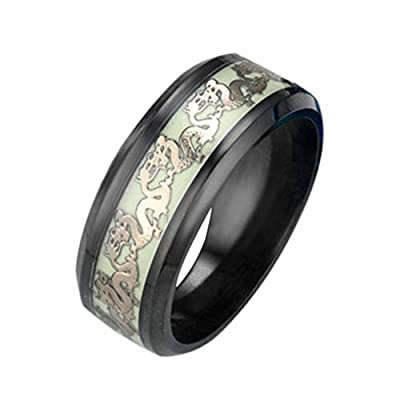 shiYsRL Exquisite Jewelry Ring Love Rings Fashion Fluorescent Shiny Rings Double Dragons Party Finger Jewelry Gifts Wedding Band Best Gifts for Love with Valentine's Day - Black US 6