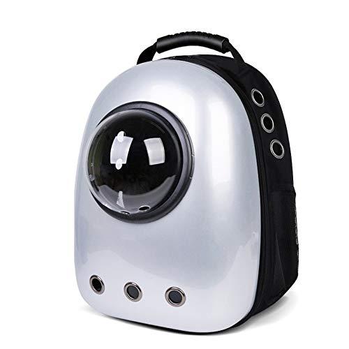 ZXCV Pet Travel Mochila portátil de Espacio de Cabina del Gato Mascota Fuera Mochila Mochila Mochila Escuela Gato Perro Mochila Bolsa ventilada Diseño (Color : Silver)