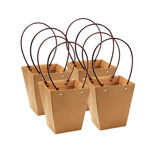 Amosfun 4 stks Kraft Papier Gift Bag Trapeziumvormige Bloem Wrapping Box Waterdichte Plant Tote Packing Bag Mand met Handvat voor Bruiloft Verjaardag 36x9.5x13cm