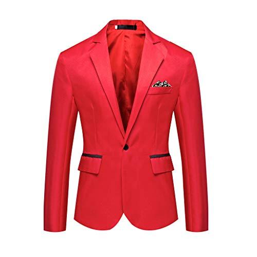 Traje Hombre Fiesta,STRIR Blazer Hombre Chaqueta Casual para Hombre Slim Fit Chaquetas de Traje Formal de Negocios Un botón de un Solo Pecho Chaqueta de Esmoquin Chaqueta Elegante (M, Rojo)