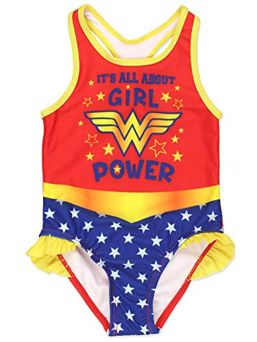 Warner Bros. ragazze Wonder Woman Costume da bagno costume da bagno 3T Rosso/Multi