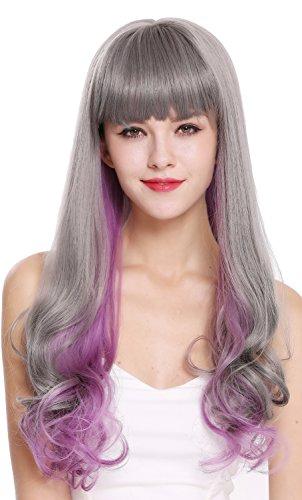 WIG ME UP - D1819-10AT366 Perruque dame longue frange lisse pointes bouclées mélange gris violet