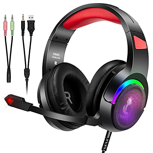 Auriculares para PS5 para PS4,  con micrófono,  PC,  Xbox One,  portátil,  Sonido Envolvente Mediante cancelación de Ruido de oído,  con Luces LED y Control de Volumen para Smartphone,  Ordenador, Switch