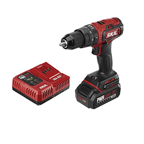 SKIL PWRCore 20 Brushless 20V 1/2 Inch Hammer Drill, Includes 2.0Ah Lithium Battery and PWRJump Charger - HD529402