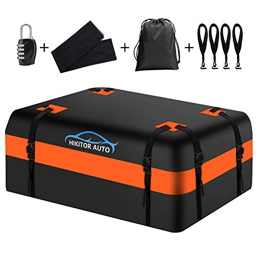 hikotor Car Top Carrier Roof Bag with 8 Reinfored Straps 100% Waterproof with Racks - Roof Bag Includes Heavy Duty Straps - Fits All Roof Racks