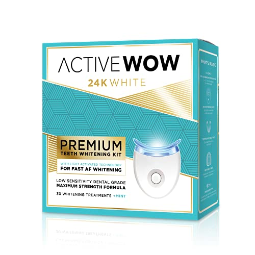 Active Wow Teeth Whitening Kit - LED Light, 36% Carbamide Peroxide, Mint - (3) 5ml Gel Syringes, Tray and Case