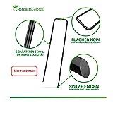 GardenGloss® Erdanker unverzinkt - Stabile Bodenanker für Unkrautvlies, Gartenvlies, Zaun & Netz - 150 MM Lang, 25 MM Breit, Ø 2.7 MM (100 Stück) - 3