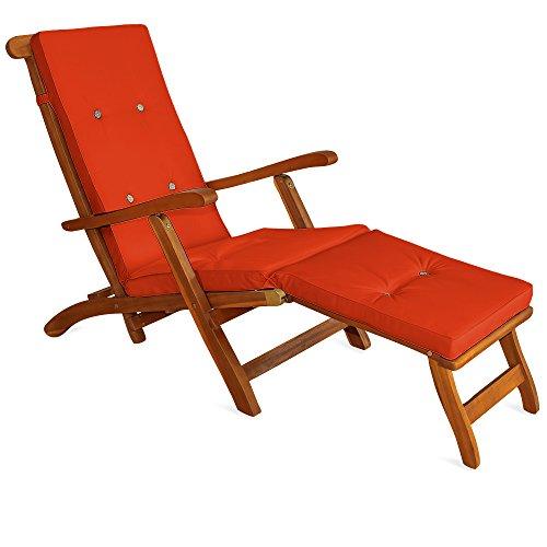 Detex® Coussin de transat | Lanières de Maintien à 8 Boutons - en Lin - Orange | Coussins Chaise Longue Bain de Soleil