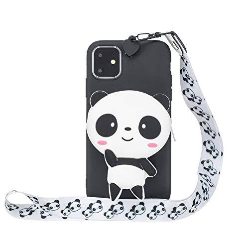 Miagon Silicone Coque pour iPhone 13,3D Mignon Portefeuille Stockage Sac Désign Cover avec Collier Lanyard Sangle Chaîne,Panda