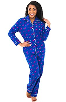 Alexander Del Rossa Women s Warm Flannel Pajama Set Long Button Down Cotton Pjs Large Pink Horses on Blue with Horseshoes  A0509Q72LG