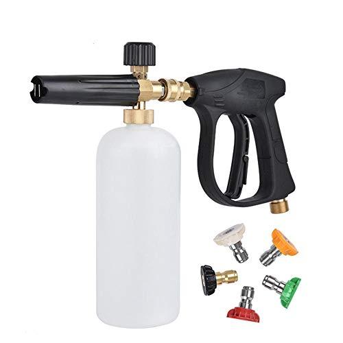 Nieve Pistola de Espuma de Espuma Lanza máquina limpiadora a presión con 5 Puntas de Las boquillas de Lavado del Coche de la Nieve de Espuma cañón de presión Ajustable Lavadora