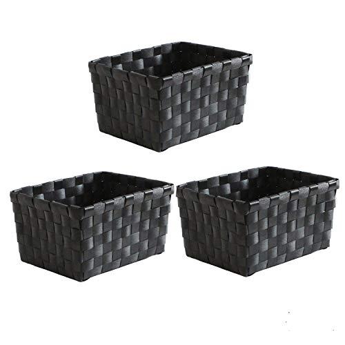 WM Homebase 3er Set Aufbewahrungskörbe geflochten Aufbewahrungskorb Korb aus Polypropylen Schwarz 18x15x10cm