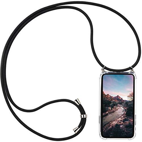 AKC Funda con Cuerda Compatible para Samsung Galaxy A51(5G) Carcasa Colgante Cadena Acrílico Caso Ajustable Collar Correa Anti-Choque Case-Negro