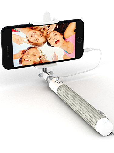 Premium 5-in-1 Wired Selfie Stick for iPhone 11 10 XR XS 9 8 7 6 5, Samsung Galaxy S10 S9 S8 S7 S6 S5 - Takes Selfies in Seconds, Get Perfect HD Photos - No Apps, No Downloads, No Batteries Required