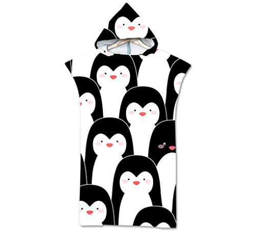 Cartoon Muster Kleiner Pinguin Kapuze Poncho Mikrofaser Robe Baden Kapuze Kompakte Decke Neoprenanzug Surfen Schwimmen Strandtuch 75 * 110 cm