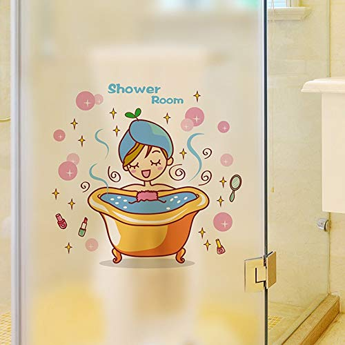 SZYND Schönes Mädchen im Bad Glastür Wandaufkleber Dusche wasserdicht Badezimmer Home Decoration Art Decals Aufkleber Wallpaper