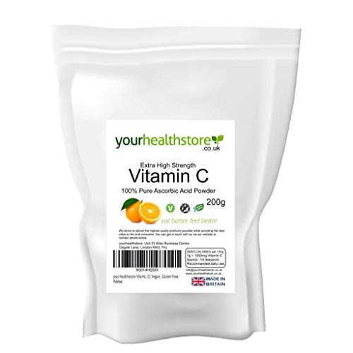 yourhealthstore Vitamin C Powder 200g, Extra High Strength Ascorbic Acid – 100% Pure British Pharmaceutical Grade – Non-GMO, Vegan, Gluten Free.