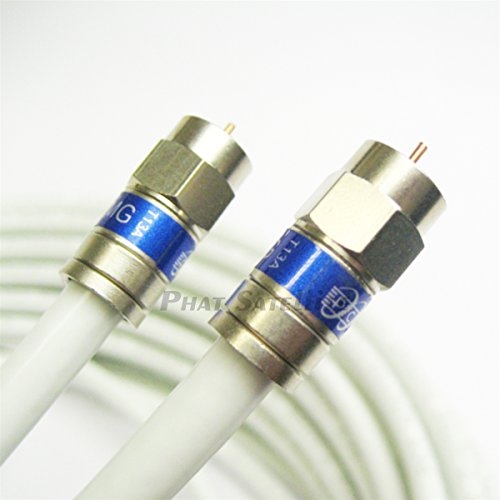 2ft (3 PACK) WHITE TRI-SHIELD WEATHER SEAL Indoor Outdoor RG6 Coaxial Cable BRASS CONNECTOR 75 Ohm Satellite TV, Broadband Internet, Ham Radio, HD Antenna Coax Assembled in USA by PHAT SATELLITE INTL
