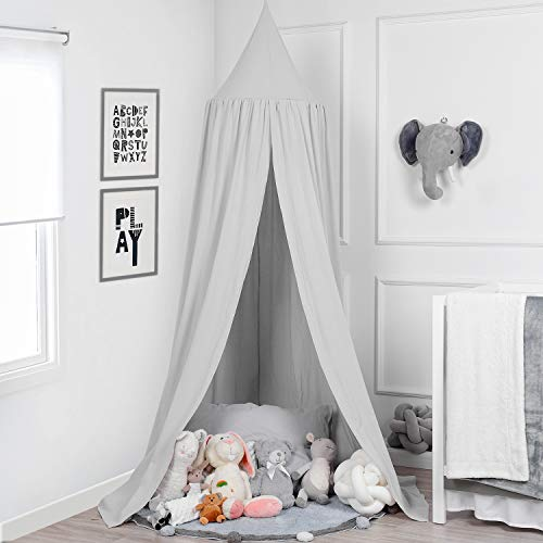 TILLYOU Baby Bed Canopy, 100% Cotton Canopy for Crib and Toddler Bed, Hanging Game Tent for Kids, Mosquito Net Nursery Play Room Decor, White